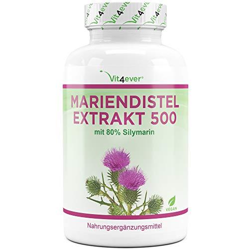 Vit4ever Mariendistel Extrakt 180 Kapseln mit je 500 mg - 80% Silymarin Anteil - Laborgeprüfte Reinheit - 6 Monatsvorrat - 100% Milk Thistle Extrakt - Hochdosiert - Vegan