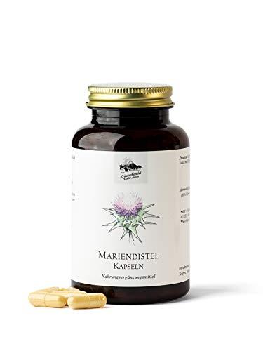 KRÄUTERHANDEL SANKT ANTON® - Mariendistel Kapseln - 500 mg Mariendistel Extrakt - Hochdosiert - 80% Silymarin Anteil aus Mariendistelsamen - Deutsche Premium Qualität (90 Kapseln)