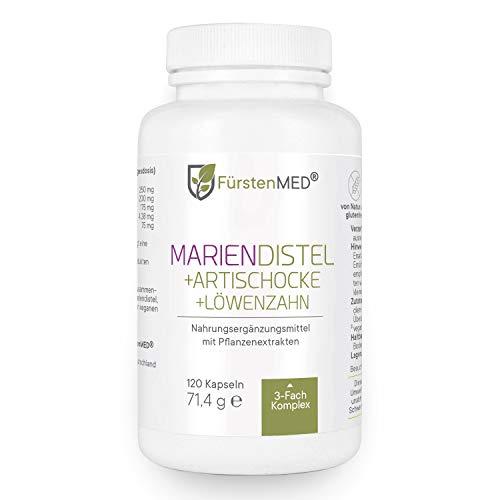 FürstenMED® Mariendistel Artischocke Löwenzahn - Leber Komplex Hochdosiert mit 80% Silymarin - 120 Vegane Kapseln - Laborgeprüft & Ohne Zusatzstoffe