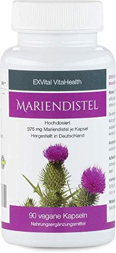 Mariendistel - EXVital VitaHealth - Mariendistel Extrakt mit 60% Silymarin Anteil, hoch konzentriert, 90 vegane Kapseln in Premiumqualiät, kein Magnesiumstearat und 100% vegan, ApoTest:'Sehr gut'